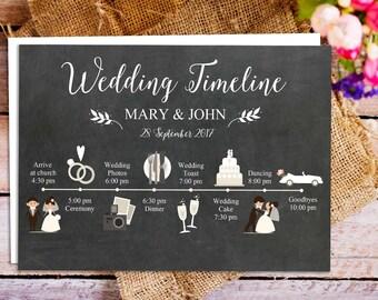 Chalkboard printable wedding itinerary, printable wedding program timeline with icons, wedding timeline card, wedding itinerary printable