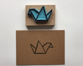 Rubber stamp, hand carved stamp, mounted on wood, stamping, small crane