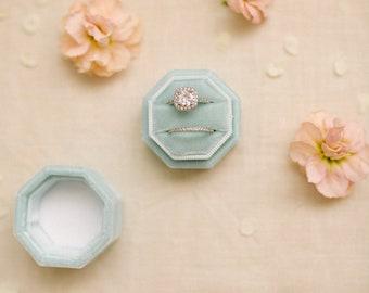 Velvet Ring Box, Blue velvet ring box, Vintage Ring Box, Double ring box, Engagement ring box, Monogrammed ring box