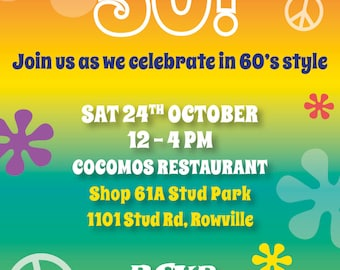 Birthday Invitations 50th Milestone Party Invite 60s theme Sixties