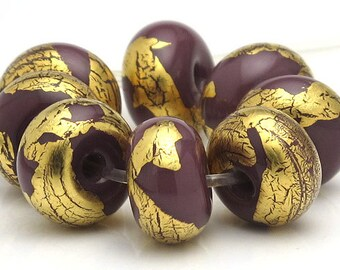 Handmade Lampwork Spacer Beads Purple and Gold Leaf SRA