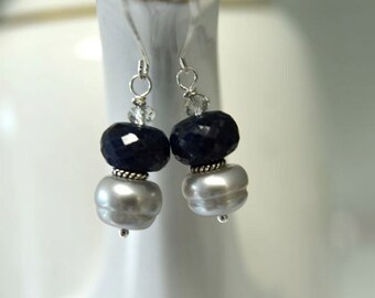 Blue Earrings  Sapphire Earrings Grey Pearl Earrings Precious Gemstone Earrings Sterling Silver Ready to Ship
