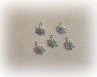 5 sunflower 17 * 13 mm silver plated flower charm