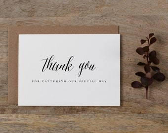 Thank you for Capturing our Wedding - Card for Wedding Photographer - Wedding Card, Wedding Thank You Cards, Wedding Photographer Card, K7