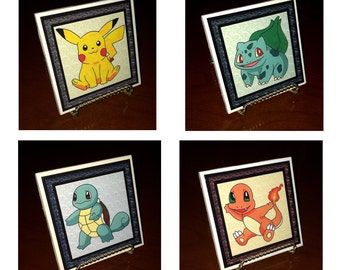 Pokemon Coasters(set of 4)(Pikachu, Charmander, Bulbasaur, Squirtle)