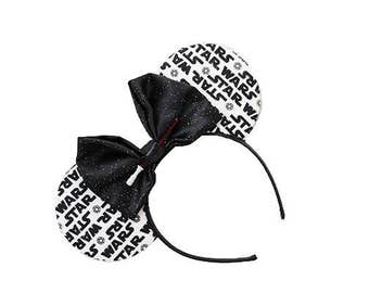 White Star Wars Mouse Ears - CHOOSE YOUR BOW