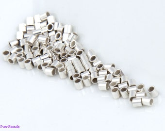 200 Pcs - 2mm 925 STERLING SILVER Crimp Beads, Tubes, Seamless, Polished, 2x2, 1.6x2, 2 Sizes Available, Made in the USA, SF011