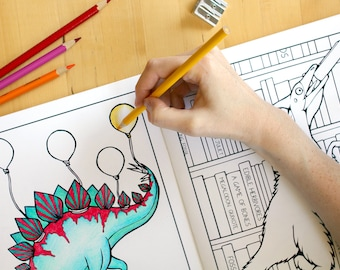 Dinosaur coloring book (adult coloring book coloring book for adults colouring book coloring pages for kids coloring book for kids science)