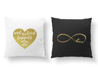 SET of 2 Pillows, And The Lived Pillow, Infinity Love Pillow, Nursery Decor, Throw Pillow, Kids Pillow, Cushion Cover,Gold Decorative Pillow