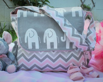 Messenger Diaper Bag chevron/elephant for baby girl!!