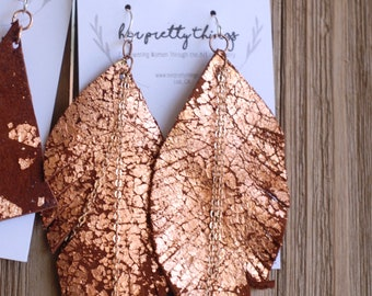 Rose Gold Flake Leather Feather Chains Dangle Earrings || Four Color Options || Hypoallergenic || Handcut
