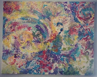 The Journey - Trippy one of a kind crazy colorful abstract painting 16 x 20