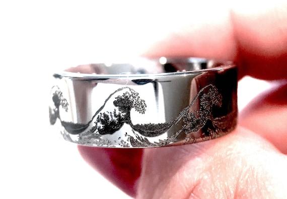 Wave ring ocean ring custom wedding ring mens wedding band like this item junglespirit Images
