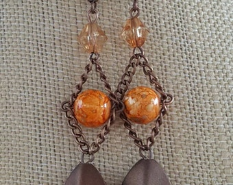 Copper,  Brown bead and chain dangles