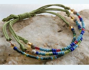 Seed Bead Bracelet Three Strands, Adjustable Friendship Bracelet