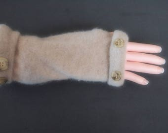 Fingerless Gloves Camel Tan Cashmere Womens One Size Fits Most