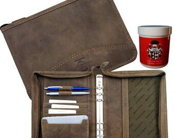 A5-Ring-Binder - Folder Organizer GROPIUS brown genuine leather
