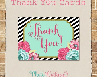 Striped Flower Thank You Cards, Flower Thank You Card, Striped Thank You, Bridal Thank You, Wedding Thank You, BS177