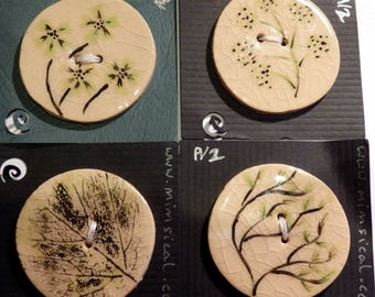 Handmade ceramic buttons - a set of 4 large handpainted green pottery buttons C109