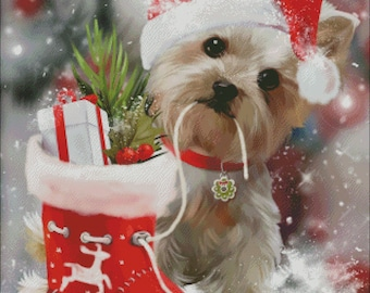yorkshire Terrier yorkie puppy counted cross stitch patterns PDF