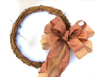 Country Christmas Bow, Burlap Wreath Bow, Burlap Plaid Bow, Christmas Wreath Bow, Country Wreath Bow, Plaid Wreath Bow, Burlap Christmas bow