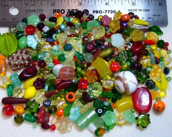 SALE - Destash - Czech Press Glass Lot - yellows, oranges, reds, greens - variety shapes and sizes - beads PG855