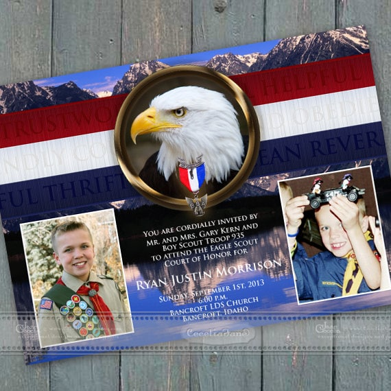 Eagle Scout Court of Honor invitations, BSA invitations, Eagle Scout commemoration, Boy Scouts of America, BSA Grand Tetons, IN415