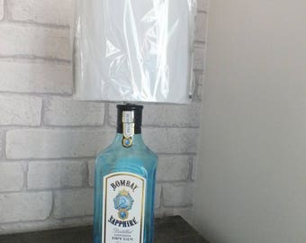 Bombay Sapphire Gin Bottle (upcycled) Table Lamp and white lampshade  - 3amp UK Electrical Plug with on/off switch.