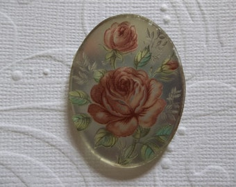Vintage Cameos - 40X30mm Glass Cabochons - Pink Roses on Matte Crystal Mirror Base Cameo - Decal Picture Stones - Qty 2