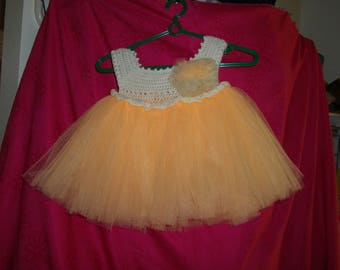 Child's Peach Tulle Tutu Hand Crocheted Top - suit 2-3yrs