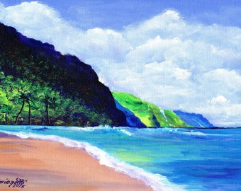 Kee Beach 3 Art Print  5x7 from Kauai Hawaii green teal blue sand beach ocean sand Kauai art Hawaiian prints end of the road beach