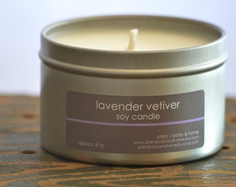 Lavender Vetiver Soy Candle Tin 8 oz. - lavender candle - vetiver candle - spa candle - relaxing candle - herbal candle - womens candle