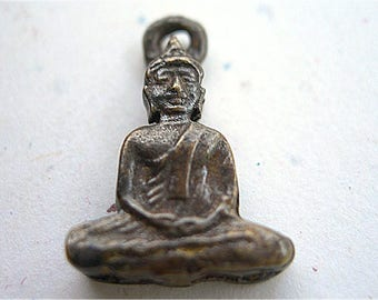 "Tiny Brass Buddha Charm Thailand lot of 1 petite cast 20mm 7/8"""