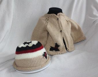 Scottie dog baby sweater and hat set