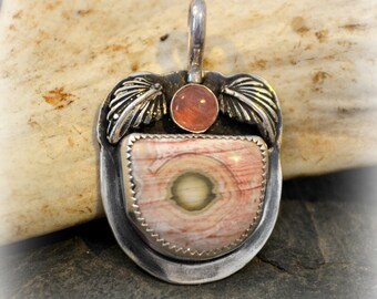 "Ocean jasper and pink tourmaline sterling silver pendant.  ""spring garden"""