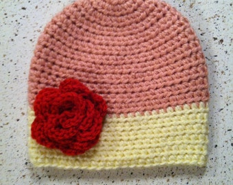 Pink & Pale Yellow Hat with Red Flower or Bow