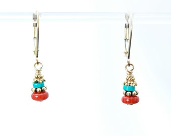 Turquoise and Coral earrings / Turquoise earrings / Coral earrings / Turquoise and Red Coral earrings / Turquoise Coral / PROTECTED STRENGTH