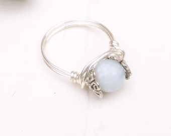 Ornate aquamarine sterling silver wire ring