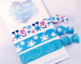 Snowflake FOE hair ties, velvet hairband, gentle hair ties, winter pony holder