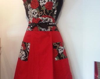 Beautiful Handmade Vintage Inspired Pin-Up Girl Apron, red and black Dia De Los Muertos, Day of the Dead  Style Apron