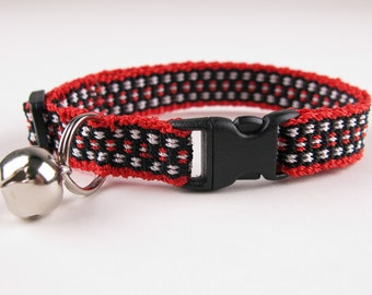 Kitty Cat Collar Hand Woven Breakaway Kitten Collar Ladybug Red Black White Spots