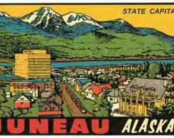Vintage Style Juneau AK Alaska Travel Decal sticker