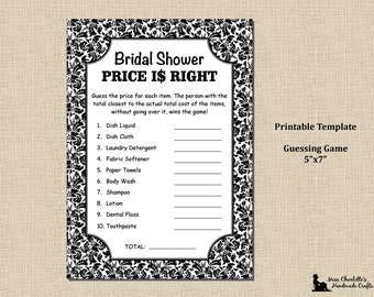 Bridal Shower Shower Price Is Right Game - 5x7 - Black Damask - Instant Download - Printable Digital Template PDF