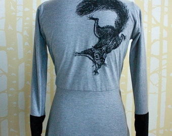 Squirrel Cardigan, size SMALL in print on slate grey 100% recycled poly jersey with contrasting cuffs