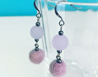 Newport Felt Earrings in Lilac, Purple Statement Earrings, Dangle Earrings, Recycled Glass, Felt Balls, Mother's Day Gift, Gift for Her