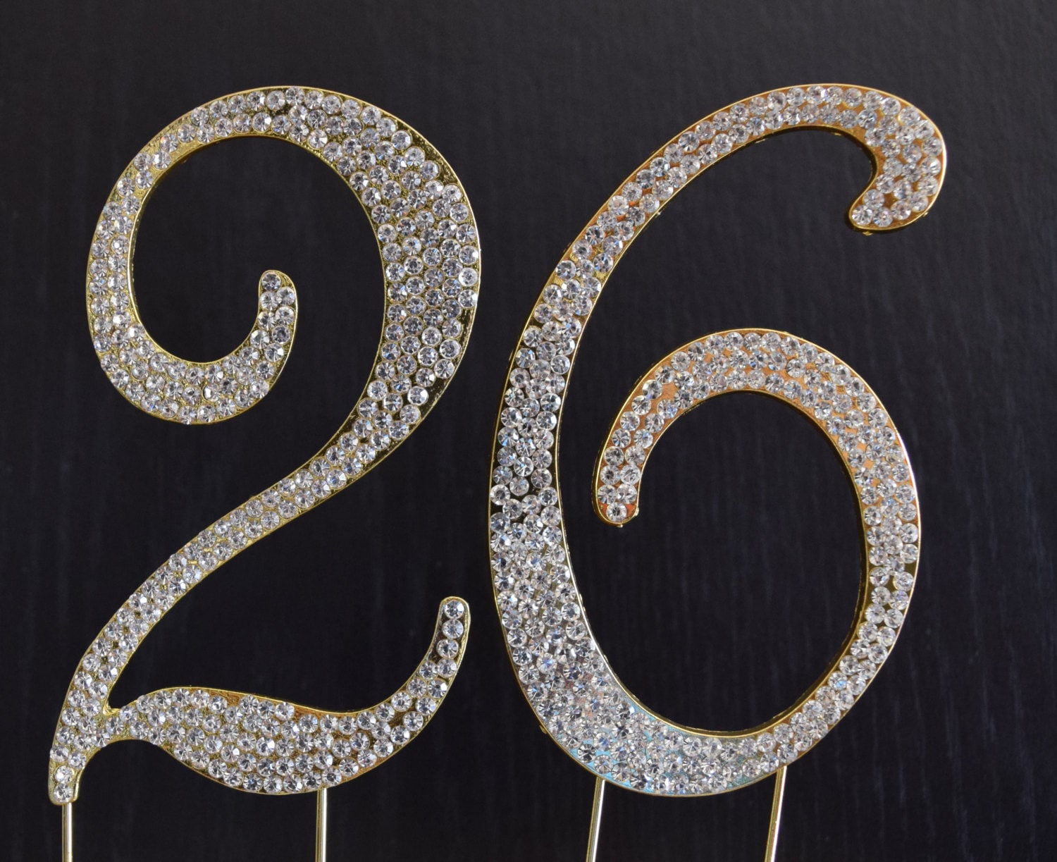 Rhinestone Gold Number 26 Cake Topper 26th Birthday Party
