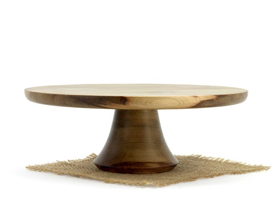 """11"""" Sweet Gum Cake Stand, Wooden Pedestal Cake Plate, Groom Stand, Cupcake Stand"""