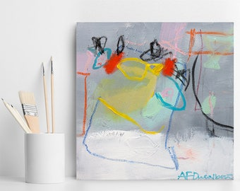 Abstract Painting on Canvas Small painting Colorful modern Abstract Art original grey aqua by AF Duealberi