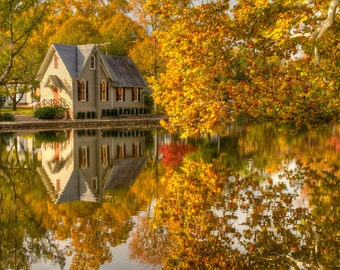 Autumn Pond and Reflection, Lake Afton, Landscape Photograph, Reflection, Fall Foliage, Bucks County, Pennsylvania, Trees, Yellow, Wall Art