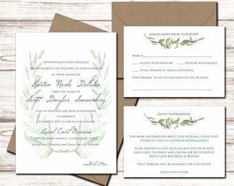 Printable Wedding Invitation Set - Wedding Invitation - Invitation - RSVP Card - Details Card - DIY Wedding - Laurel Wedding Invite Suite